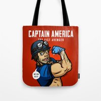 steve rogers Tote Bags featuring Steve Rogers, The Fist Avenger by Randy Meeks