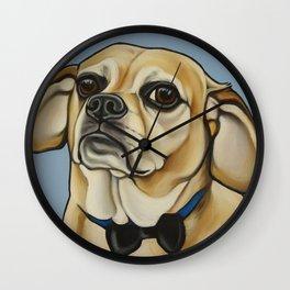 "Puggle Portrait ""Dexter"" the grump!  Wall Clock"