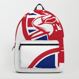 British Construction Worker Union Jack Flag Icon Backpack