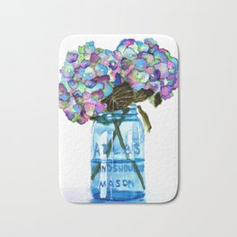 Watercolor Hydrangeas in Blue Mason Jar Bath Mat