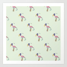 Odd Bird pattern in green Art Print