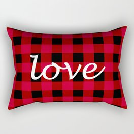 Love Red Buffalo Check Rectangular Pillow