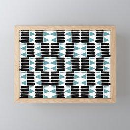 Tribal in teal and black Framed Mini Art Print
