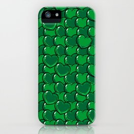 Green Love Hearts iPhone Case