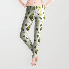 Watercolor seamless pattern with pears Conference and leaves. Botanical isolated illustration.  Leggings