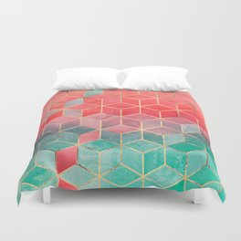 Rose And Turquoise Cubes Duvet Cover