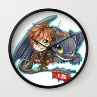 hiccup Wall Clocks featuring Httyd 2 - Chibi Hiccup and Toothless by ibahibut