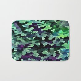 Foliage Abstract Pop Art In Jade Green and Purple Bath Mat