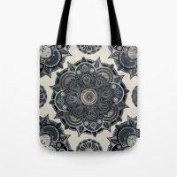 islam Tote Bags featuring Silver Mandala by Mantra Mandala