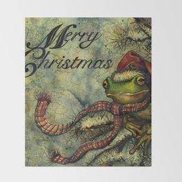 Felipe the Jolly Holiday Frog Throw Blanket