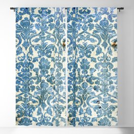 Vintage Antique Blue Wallpaper Pattern Blackout Curtain