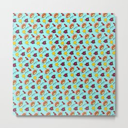 Hammy Pattern in Sky Blue Metal Print