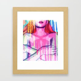 Naked woman cross one's arms on spray paint,3d illustration,pop art style Framed Art Print