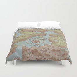 Super Mario World Map (Vintage Style) Duvet Cover