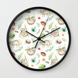 Tropical Sloths Pattern Wall Clock