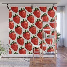Strawberry Pattern - White Wall Mural