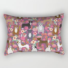 Pitbull mixed coats floral dog breed pibbles must have pitbulls lovers Rectangular Pillow