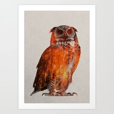 Owl In Wildfire Art Print