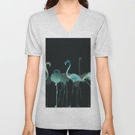Watercolor Winter Flamingos in Dark collab. with @rodrigomffonseca Unisex V-Neck