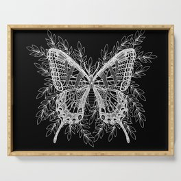 Black and White Butterfly Design Serving Tray