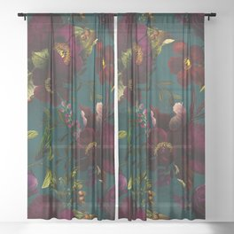 Before Midnight Vintage Flowers Garden Sheer Curtain