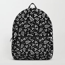 White on Black Assorted Leaf Silhouette Pattern Backpack