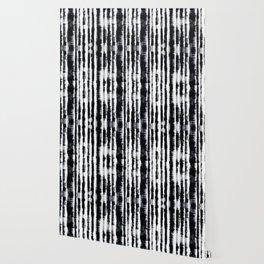 Tie-Dye Shibori Stripe BW Wallpaper