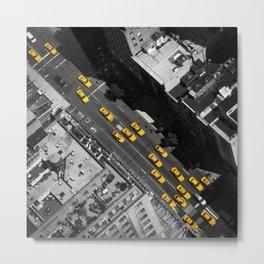 New York City, Yellow Cabs   B/W  Metal Print
