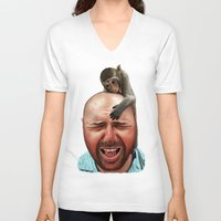 karl V-neck T-shirts featuring Karl Pilkington by Ben Hayward