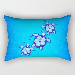 3 Blue Honu Turtles Rectangular Pillow