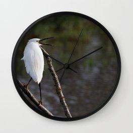 Little egret Wall Clock