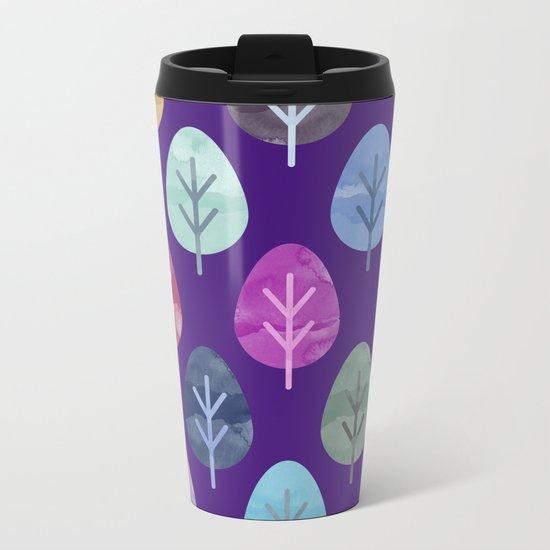Watercolor Forest Pattern II Metal Travel Mug