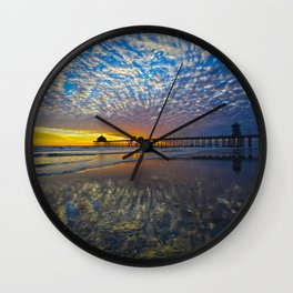 Huntington Beach Sunset  3/3/14  Wall Clock