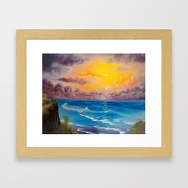 Beach Cove, Beautiful Beach, Colorful Beach, Beach Sunset, Colorful Sunset Framed Art Print