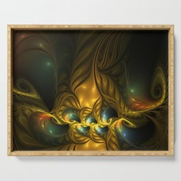 Another Mystical Place, Abstract Fractal Art Serving Tray