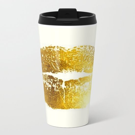 Lips Gold Metal Travel Mug