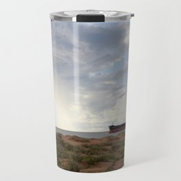 Ore Ship off Spoil Bank - Clouds Travel Mug