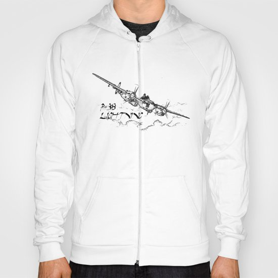 P-38 Lightning line drawing Hoody