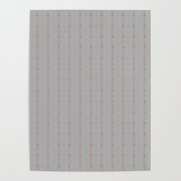 Soft Grey With Orange Delicate Diamond Stripes Poster