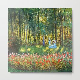 Claude Monet The Artist's Family In The Garden Metal Print
