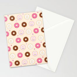 Cute Little Donuts on Cream Stationery Cards