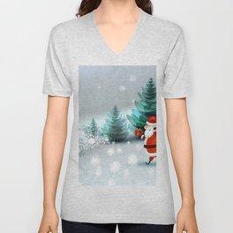 Holiday Christmas Santa Unisex V-Neck