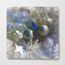 Christmas tinsel and baubles in silver tones Metal Print