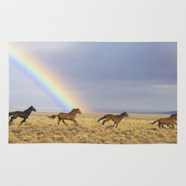Wild Horses Before A Rainbow Rug
