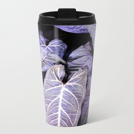 Jungle leaf - amethyst Metal Travel Mug