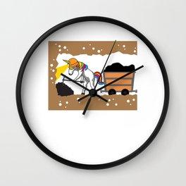 Unicorn Mining Pit Coal Gift Idea Wall Clock