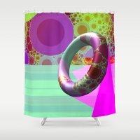 karen hallion Shower Curtains featuring 2in1 Pattern Mix, Karen by MehrFarbeimLeben