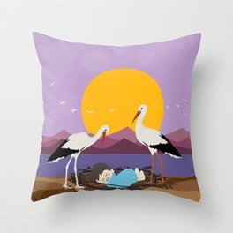 Courier adopted baby Throw Pillow