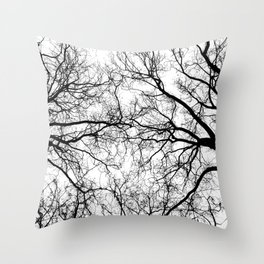 Tree Branch Silhouette Throw Pillow