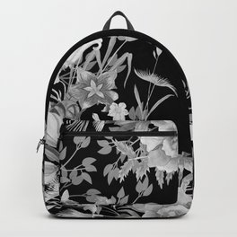 Stardust Black and White Floral Motif Backpack
